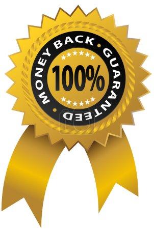 Illustration for An image of a 100% money back guaranteed ribbon. - Royalty Free Image