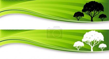 Illustration pour Une image de deux bannières d'arbres . - image libre de droit