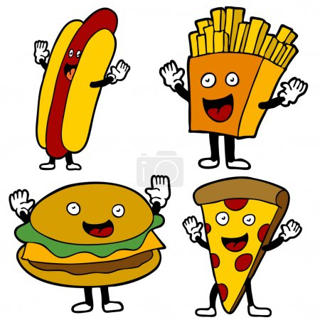 Illustration for An image of fast food characters. - Royalty Free Image