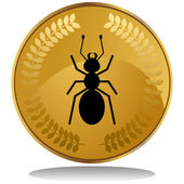 3D image of a gold coin with laurel wreath - ant