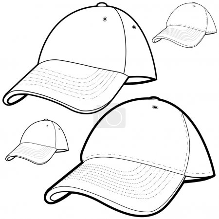 Illustration for Baseball cap set isolated on a white background. - Royalty Free Image