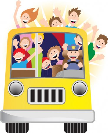 Illustration for Riding on a bus on a sunny day. - Royalty Free Image