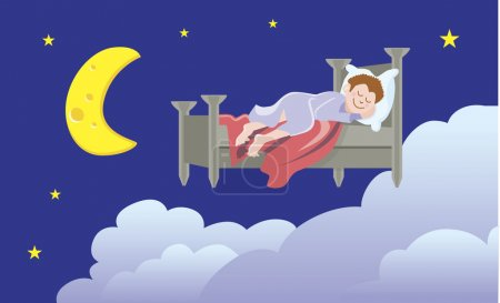 Illustration for Cartoon image of someone dreaming. - Royalty Free Image