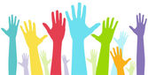 A colorful groups of hands to signify diversity or teamwork