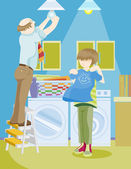Cartoon image of family doing house chores together