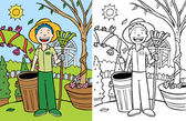 Cartoon image of man doing yard work - color and black/white versions