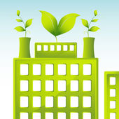 Building with green leaves representing company is energy conscious
