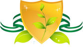 Gold shield with image representing going green with 3D leaf
