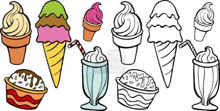 Illustration pour Une image d'une variété de friandises de crème glacée . - image libre de droit