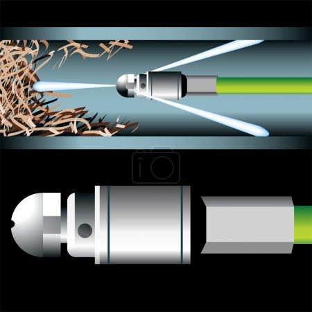 Illustration pour Image 3D d'un dispositif de plomberie nettoyant un tuyau souterrain . - image libre de droit