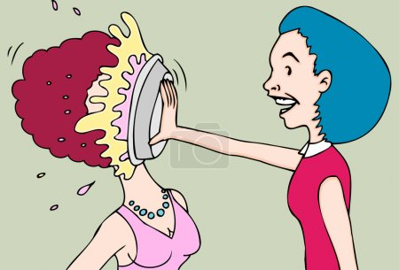 Illustration for A lady throws a pie in the face of another. - Royalty Free Image