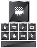 Set of 9 entertainment icons - square black style