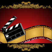Movie themed background with film slate decorative curls and camera icon