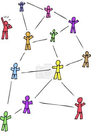 Illustration pour Figures de bâton de bande dessinée représentant quelqu'un qui est laissé hors du réseau social . - image libre de droit