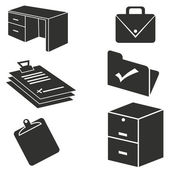 Set of 6 office supply icons
