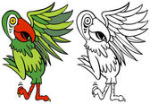 Parrot Cartoon Character Line Art