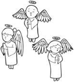 Set of 3 angels praying - black and white