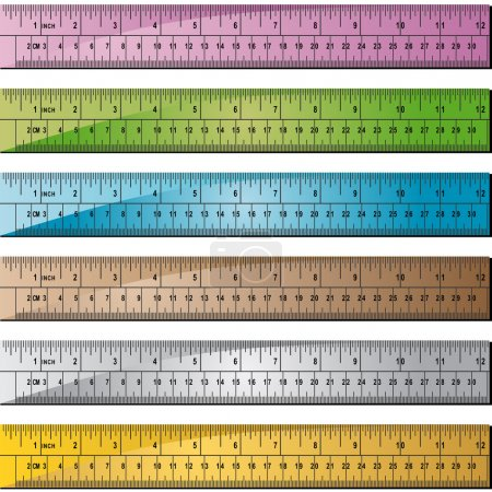 Set of 6 metal/wooden rulers with hole punch at en...