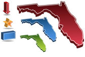 Set of 3D images of the State of Florida with icons