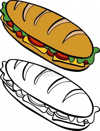 Cartoon image of a variety of submarine sandwich -...