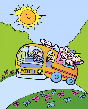 Illustration for Happy kids riding the bus on a sunny day. - Royalty Free Image
