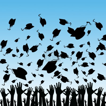 Illustration for An image of students graduating. - Royalty Free Image