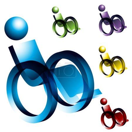 Illustration pour Une image de 3d icônes en fauteuil roulant. - image libre de droit