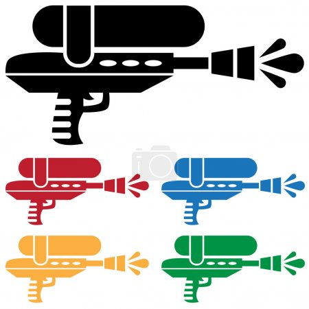 Illustration for Set of 5 water / paint guns in different colors. - Royalty Free Image