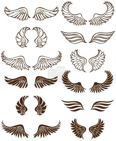 Set of 12 sets of angel wings.