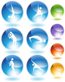 Yoga crystal icon set isolated on a white background