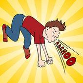 člověk hlasité kýchnutí
