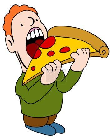 Illustration pour Une image d'un homme mangeant une tranche de pizza . - image libre de droit