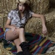 Young brunette cowgirl relaxing on a blanket laid ...